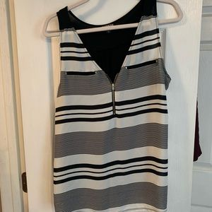 Express black and white striped blouse sz L